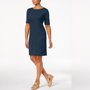 🔥 Karen Scott Sport Cotton Boat-Neck Dress Blue